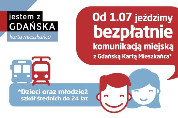 Od 1 lipca 2018 r. bezpłatne przejazdy komunikacją miejską dla dzieci i młodzieży z Gdańską Kartą Mieszkańca