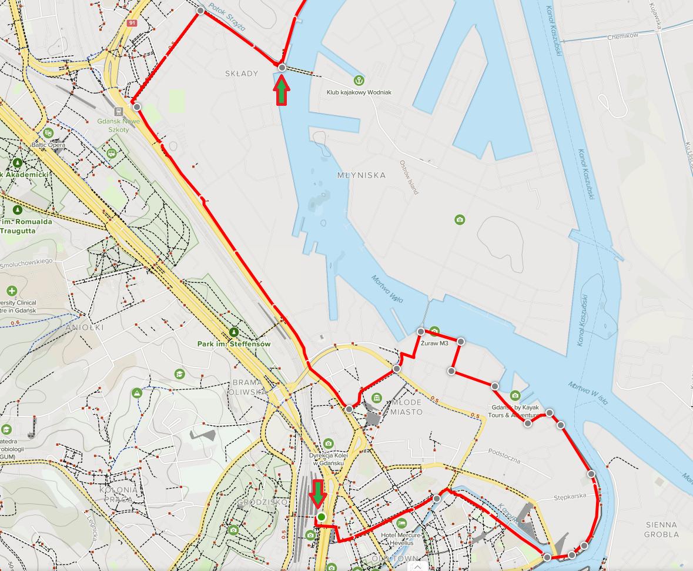 Gdańsk nad wodą mapa Etap 1